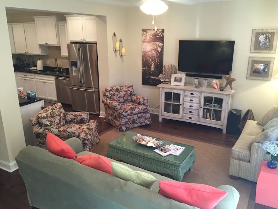 Downstairs with TV and Twin pull out Sofa.  2 Large Chairs