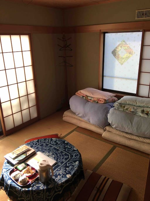 """guests room,  your sleeping """"futon"""" Japanese style   You will be able to sleeping enough by that light duvet and blanket.  I hope you are comfortable."""