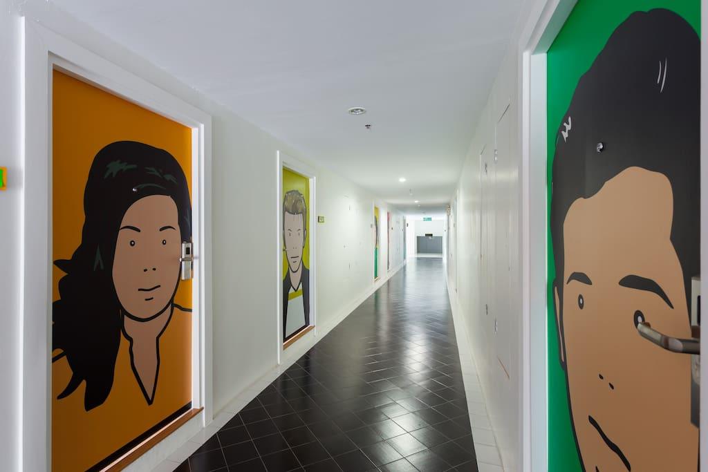 modern pop  art interior at corridor