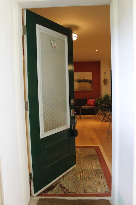 Private entrance to apartment with lockbox for independent check-in when required or key storage, if preferred.