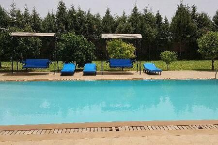Villa avec une grande piscine sur une ferme