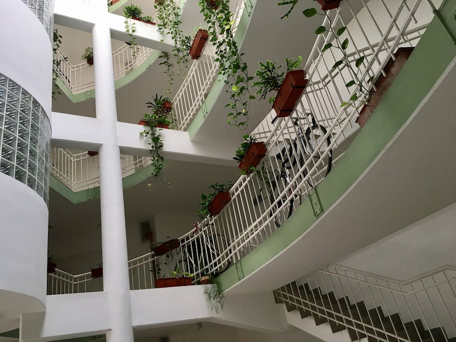 The staircase, the lobby, from where you have to go through a door (in the right corner), then turn left, and you'll find Vertika-land**** (Viola-apartman****)
