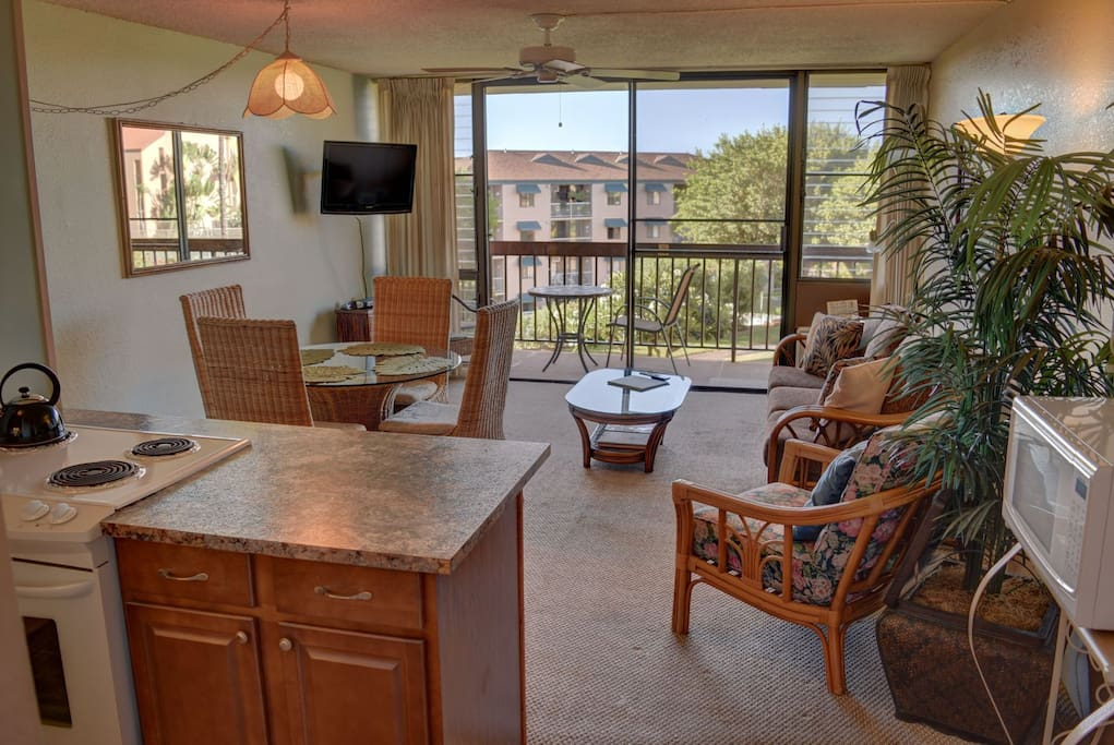 Dining area and spacious living room