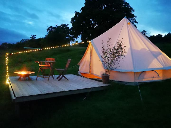 Bell Tent on the Mendips with stunning view