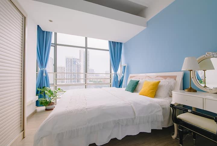 【悦舍:蔚蓝】第-国际爱琴海天空蓝风格,60平方豪华1.8米大床,可煮饭