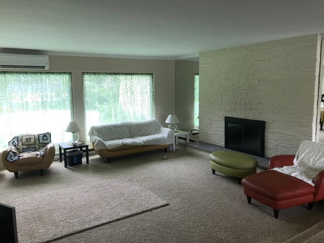 Living room. There is a flat screen TV with Netflix and a fireplace. This is a shared space.