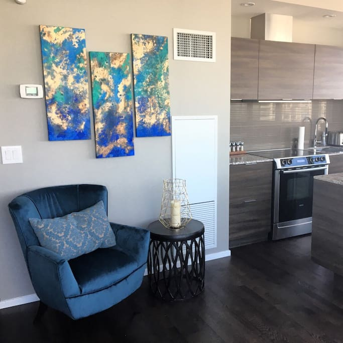 Newly Furnished with one of a kind commissioned custom art throughout.  Truly a one of a kind suite!