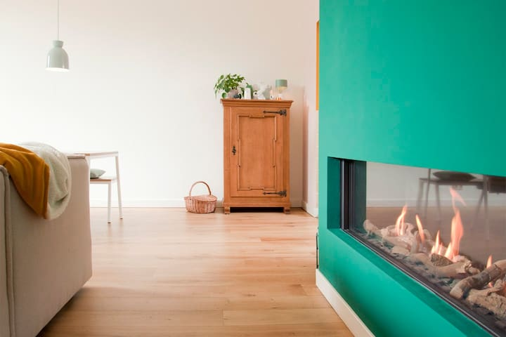 Gas fire place in living room.