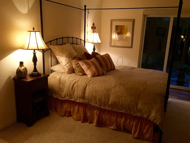 Comfy queen size bed in a private room!