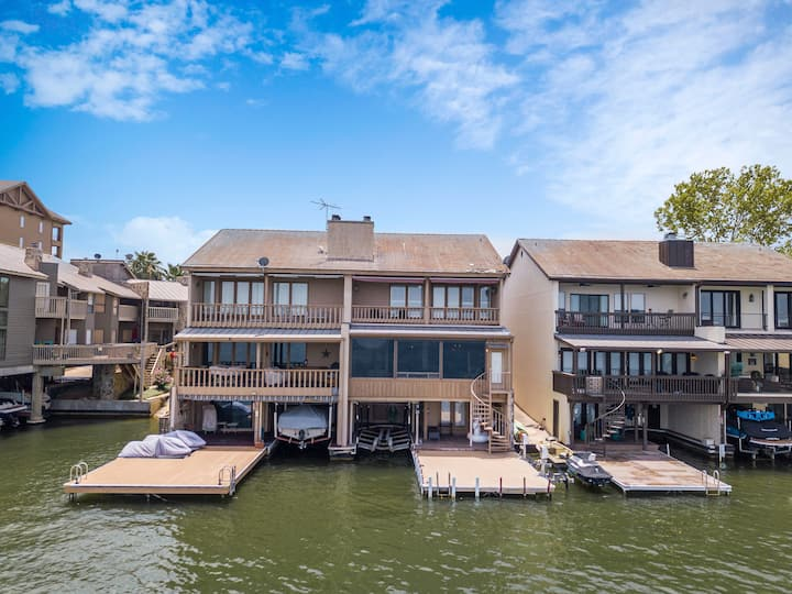 Lake LBJ Waterfront Townhouse with Private Boat Slip and Steps from HSB Resort