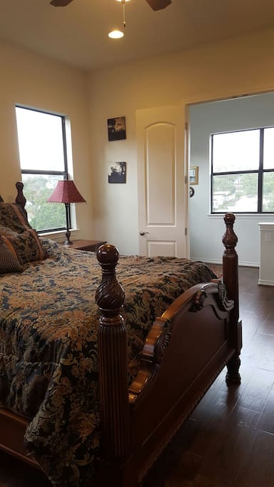 Master bedroom #1, views in every direction. Queen bed, your own private bath.