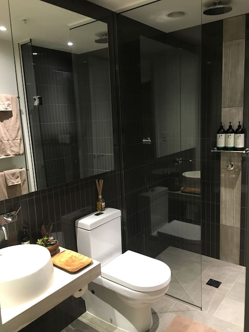 Your bathroom with rainforest shower