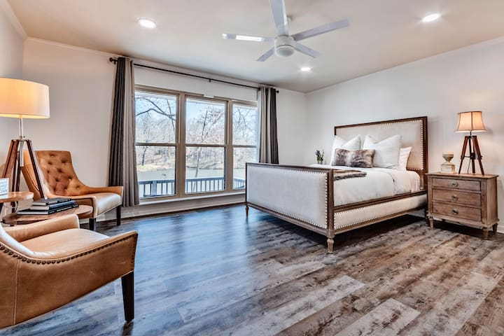 Master Bedroom with queen bed  With an amazing lake view! design & final touches inspired by restoration hardware!!