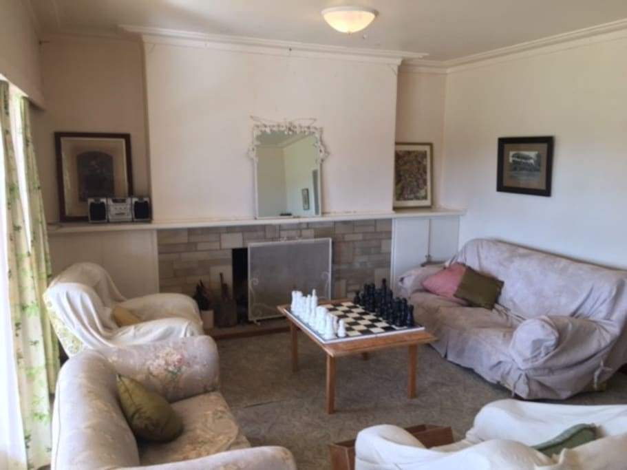 Chess room with fire place