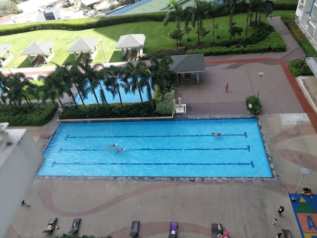 View of the garden and outdoor swimming pools