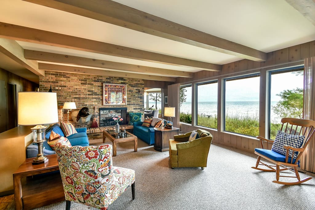 living room with full lake view