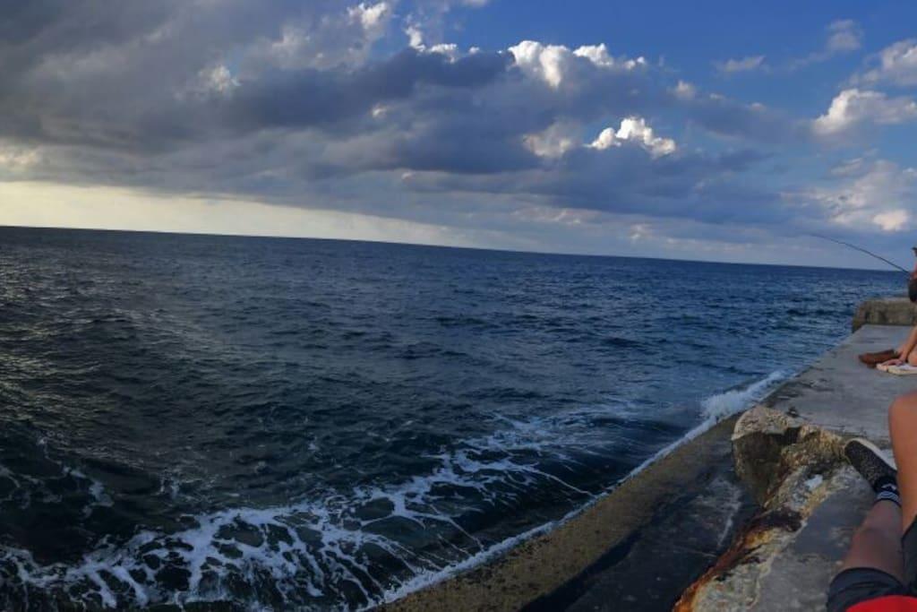 Bello mar del Caribe a solo 30 metros