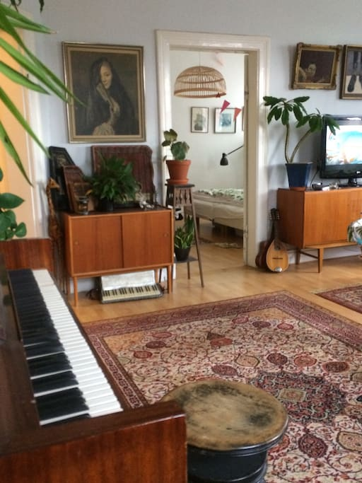 Living room with acoustic piano