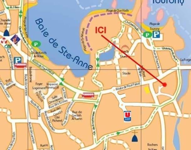 plan d'accès...la maison se situe dans un chemin près d une biscuiterie ..l'adresse 141 route des traouiero 22730 tregastel