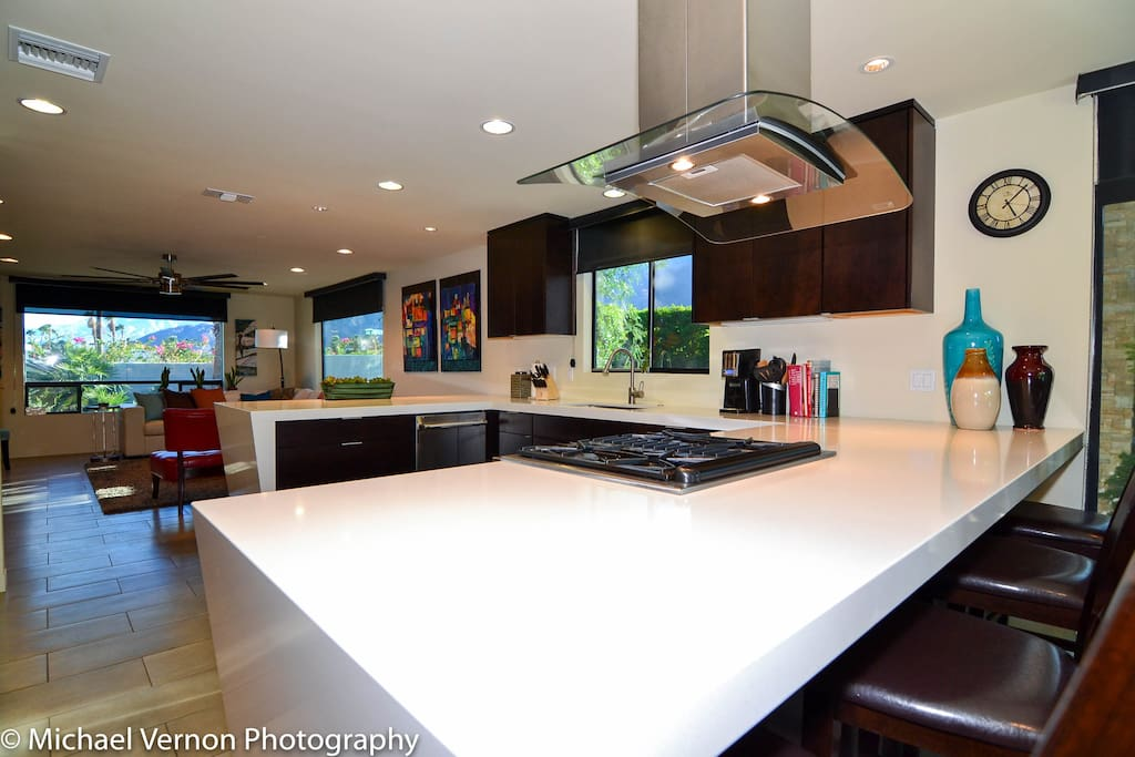 Open Kitchen and Family Room - Full setup with cooking utensils