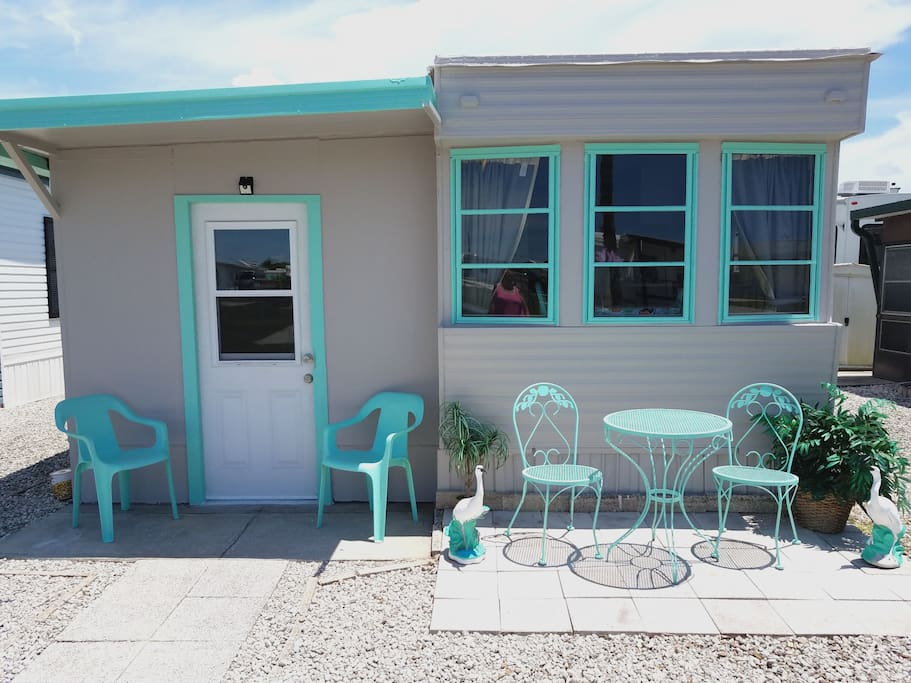 Welcome to the Aqua Hut. Enjoy a nice cold drink on the front patio after your journey here!
