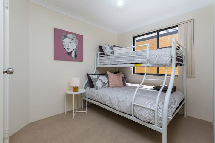 Bedroom 2 - bunk bed (single over double) & robe! Bedroom located to the rear of the property.