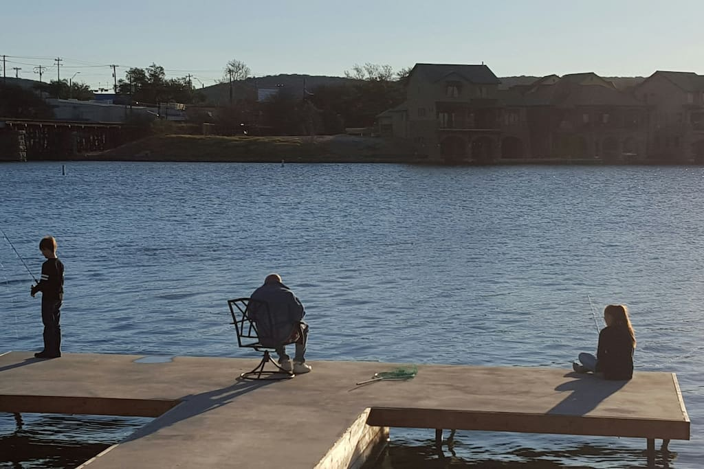 Fishing off the back yard pier