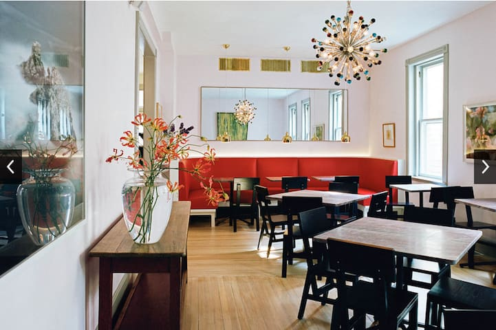 This is The Corner, our absolute favorite Tivoli restaurant, literally up at the corner from us. Have a drink at the beautifully designed bar, dine with friends outside or enjoy a romantic dinner in this lovely room. Owned by painters Brice and Helen Marden.
