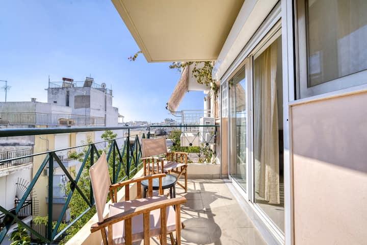 Sunny cozy apartment with the beautiful balcony