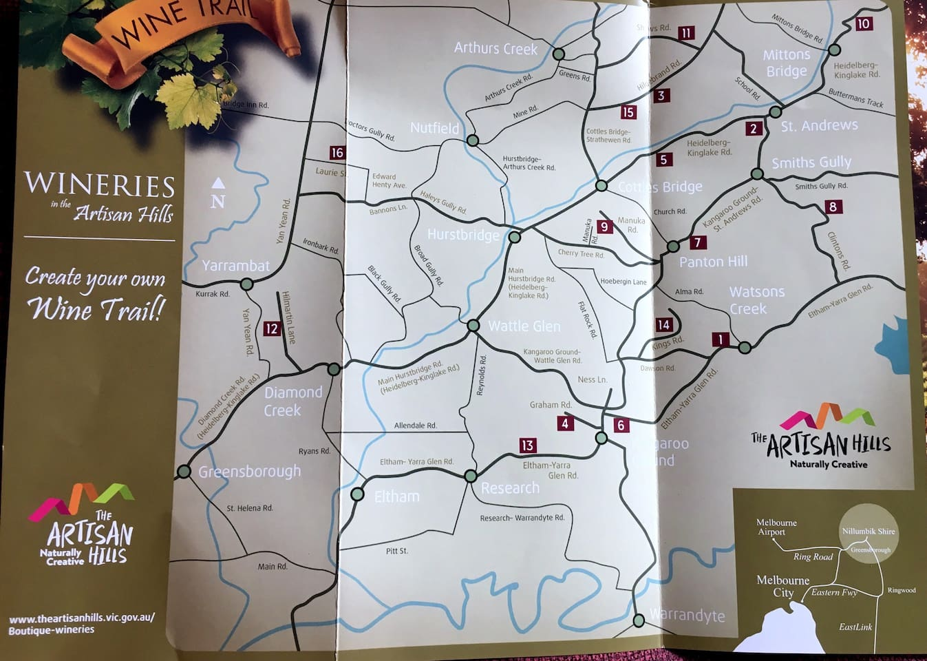 Trail of Artisan Hills Wineries.