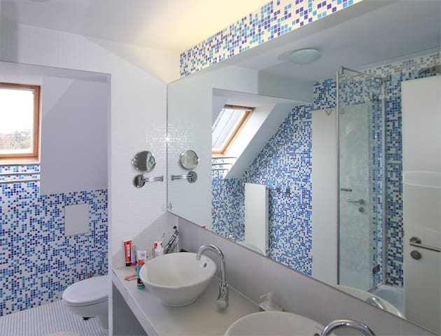 bathroom with two sinks, toilet and shower.