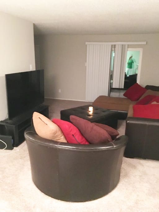 Living Room-65 inch smart TV.. Sectional & Love Seat