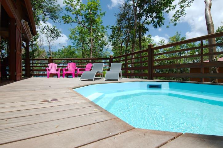 Hamac'abane 1 à6pers ,vue mer, piscine, Bouillante