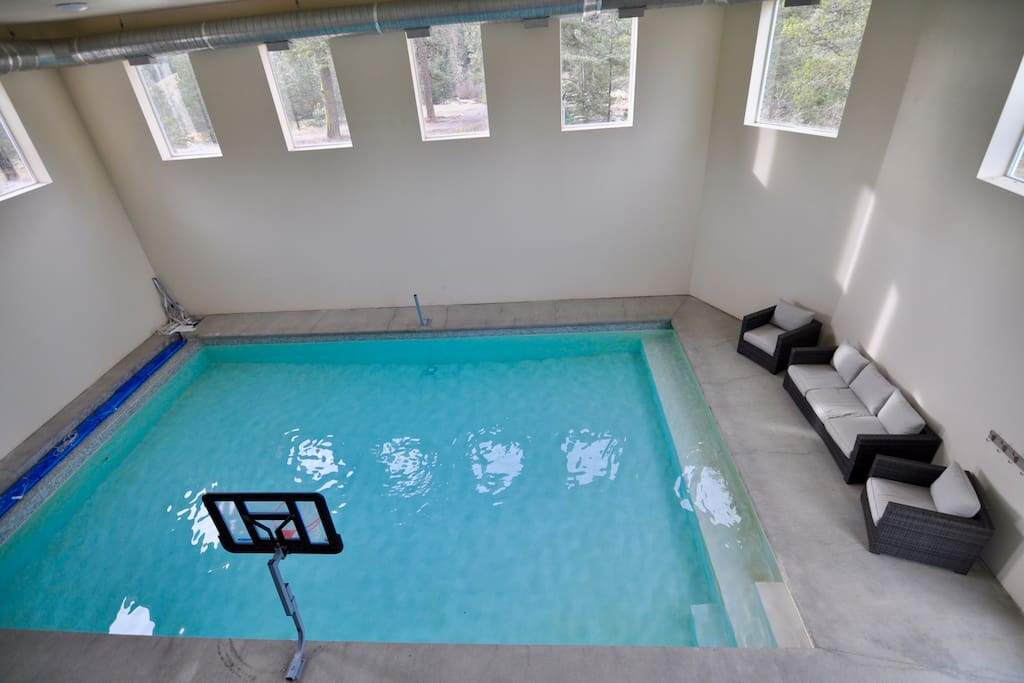 20x30 foot Saltwater pool in the basement of the main lodge, private access for Carriage house renters use.