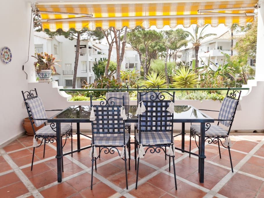 Dining terrace for eight persons just off the lounge of the apartment