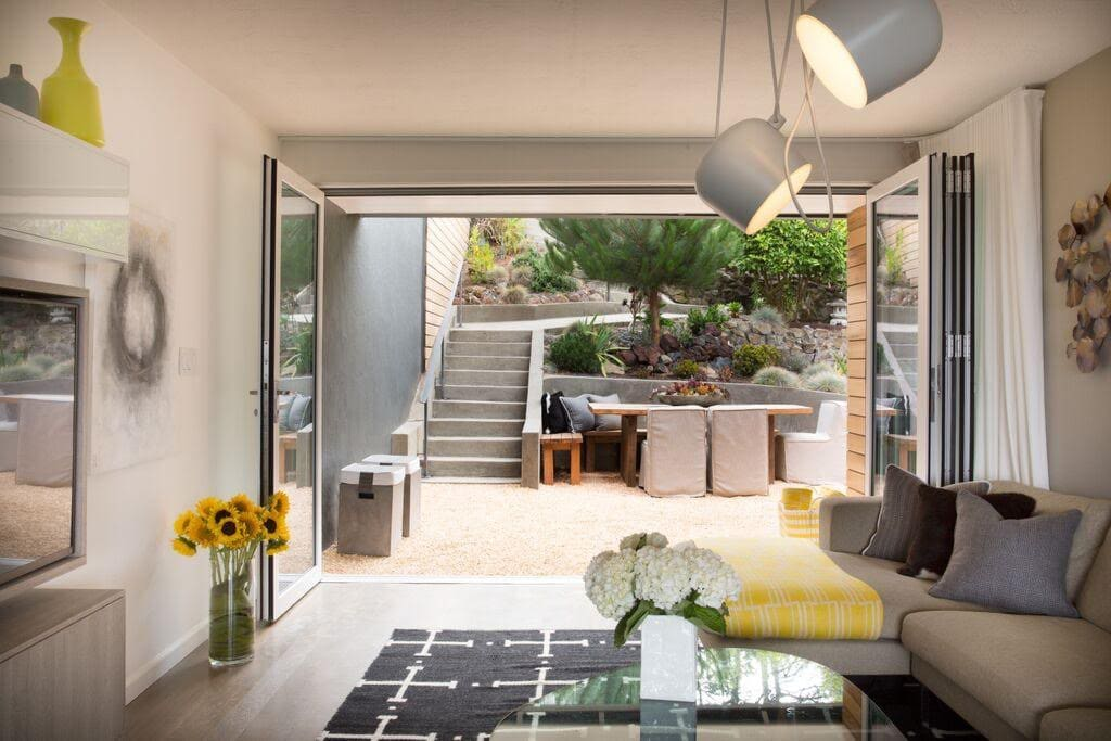 Living room opens up to the outdoor space.