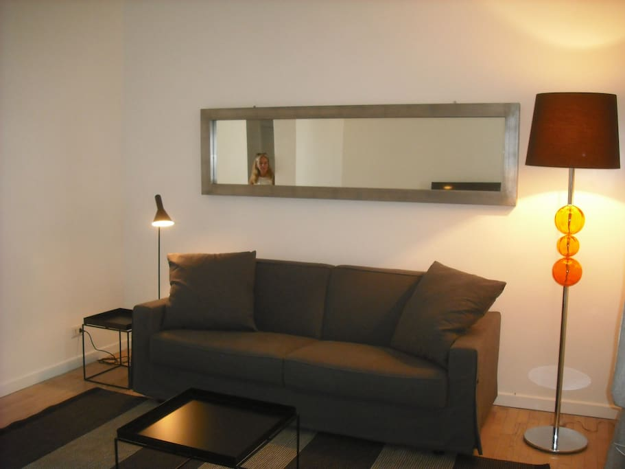 Living room with sofa double bed