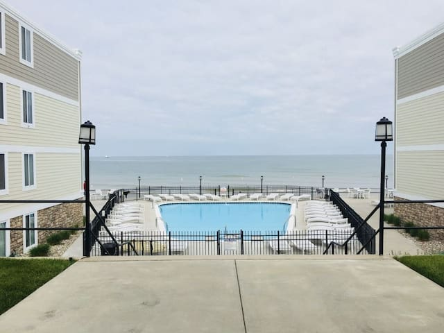 South Haven lakefront condo with heated pool!