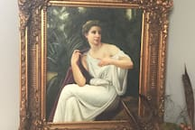 This 19th C Grecian Style painting hangs in the Entry Way, in a Stunning Frame!
