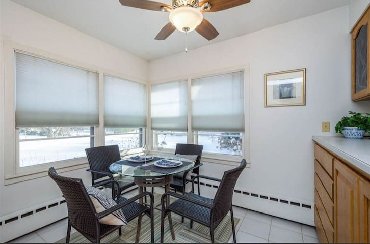 breakfast nook in kitchen with large buffet