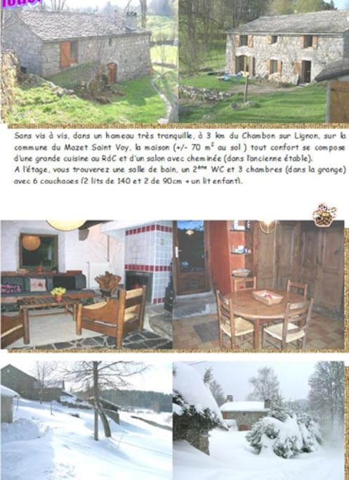 """""""Vieux"""" flyer avec salon, cuisine, vue hiver depuis la maison et face nord."""