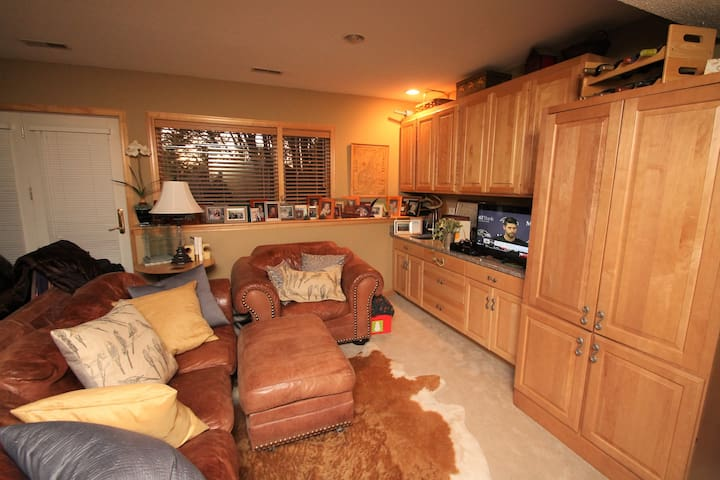 Rec Room with leather sofa, leather arm chair, granite counter, TV, XBox and wet bar sink.