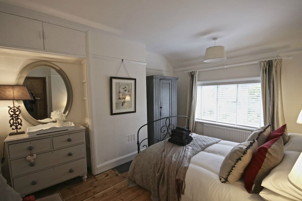 Rear bedroom with large sumptuous double bed. We can add a single here if needed.
