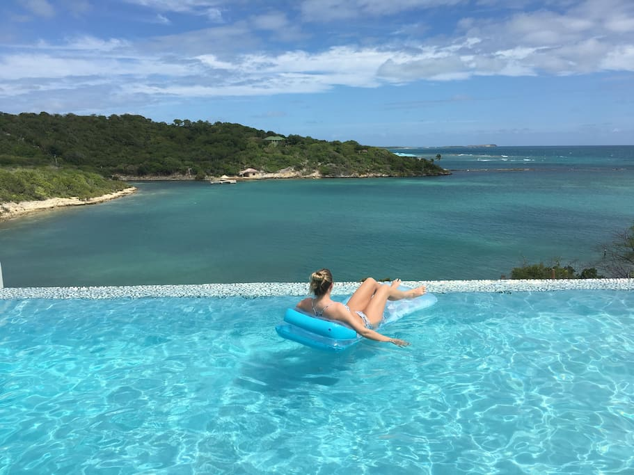 Relaxing in the infinity pool.  Watching for pelicans and sea turtles!