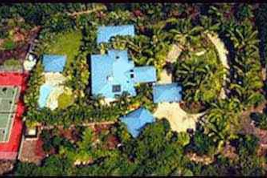 Aerial view of the 2 acre property