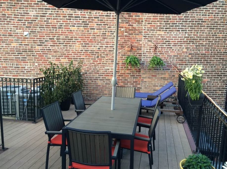 The roof-deck is all yours! 2 chaise lounges, a table for 8, a bench, extra chairs, beautiful plants, and a barbecue.
