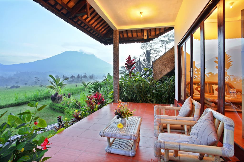 Take in the views of Mt Agung and the surrounding rice fields from the privacy of your own verandah