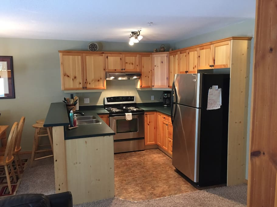 Open concept kitchen with SS Fridge,Stove and dishwasher, fully stocked