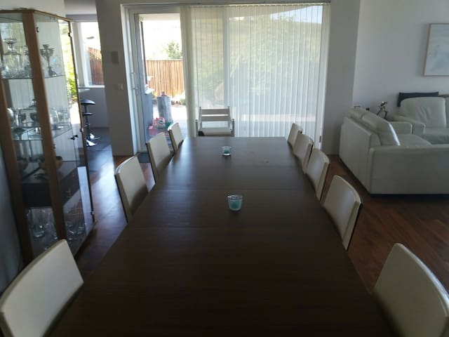 dining room area with sliding door