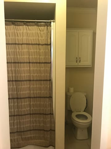 Private bathroom in the room! There is however no door between the sink area and the toilet or the room.